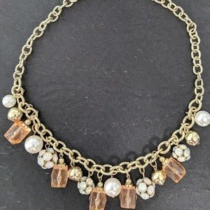 Jewelry - Statement necklace with pearl, gold, peach chrams
